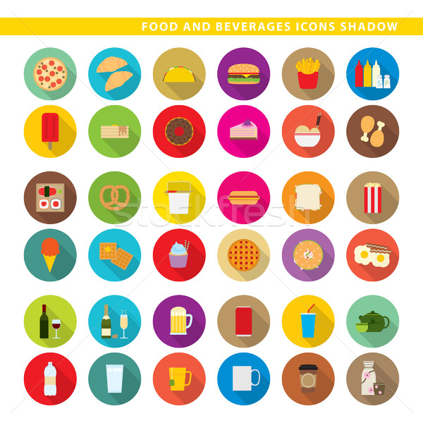 Food and beverages icons shadow. Stock photo © padrinan