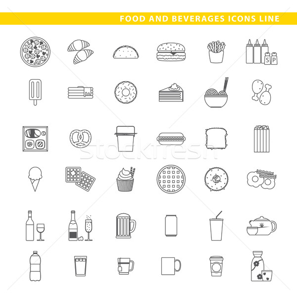 Food and beverages icons line. Stock photo © padrinan