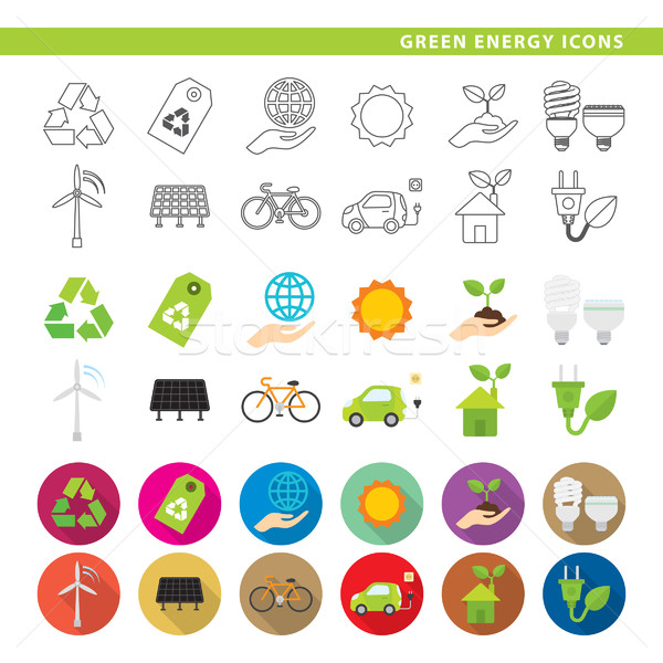 Green energy icons. Stock photo © padrinan