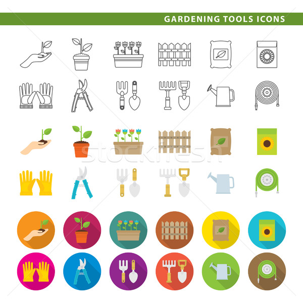 Gardening tools icons. Stock photo © padrinan