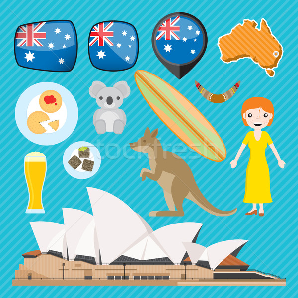 Australië australisch iconen mensen dieren voedsel Stockfoto © padrinan
