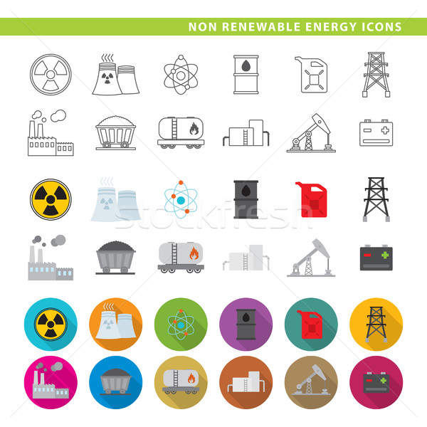 non renewable energy icons Stock photo © padrinan