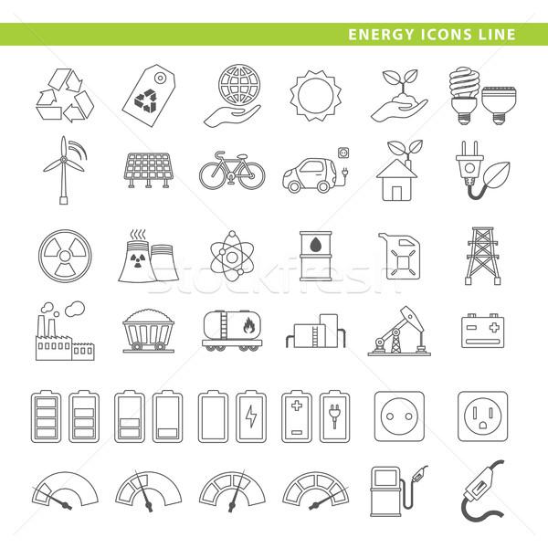 energy icons line. Stock photo © padrinan