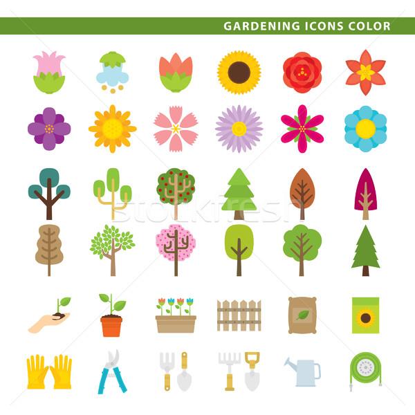 Gardening icons color. Stock photo © padrinan