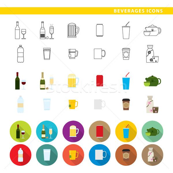 Beverages icons. Stock photo © padrinan