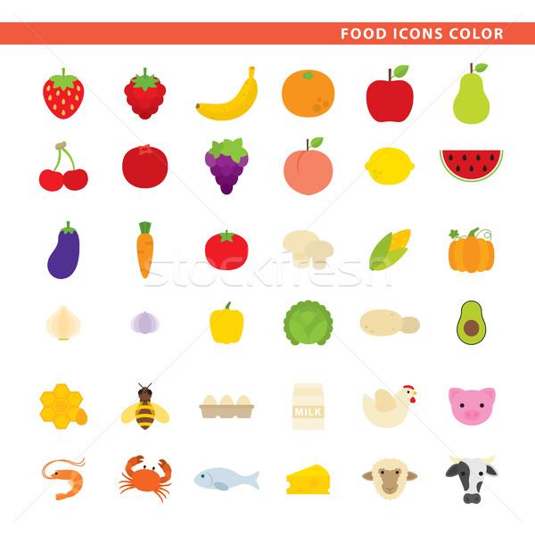 Food icons color. Stock photo © padrinan