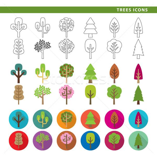 Trees icons. Stock photo © padrinan