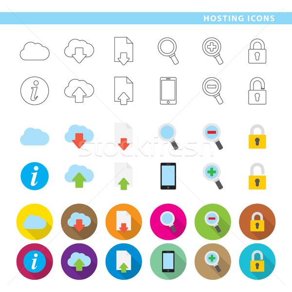 Hosting ikon szett tizenkettő ikonok három különböző Stock fotó © padrinan