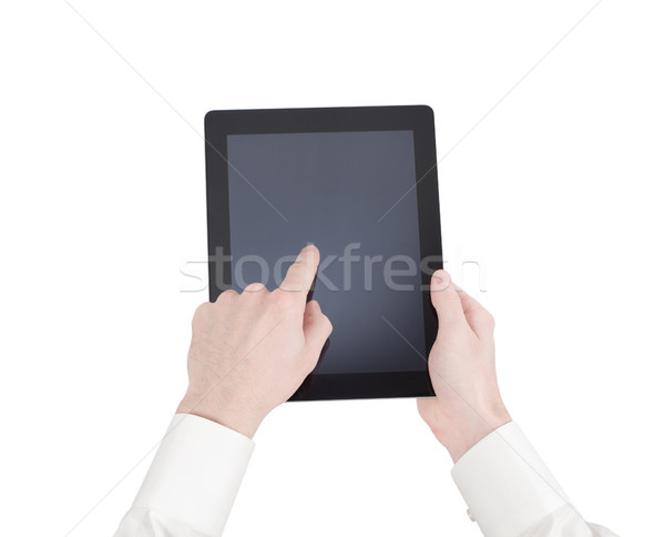 female hands holding a tablet touch computer gadget with isolate Stock photo © Pakhnyushchyy