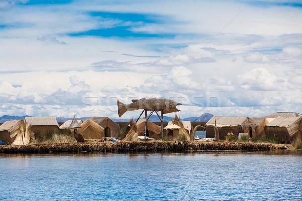 Totora boat on the Titicaca lake near Puno, Peru Stock photo © Pakhnyushchyy