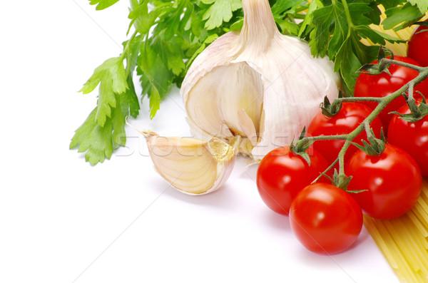 Macarrão tomates branco comida Óleo cor Foto stock © Pakhnyushchyy