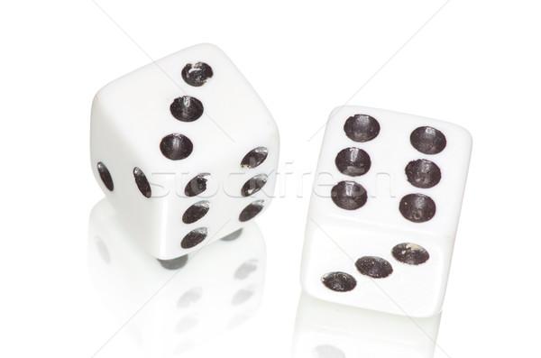 Dos blanco negro jugar cubo juego Foto stock © Pakhnyushchyy