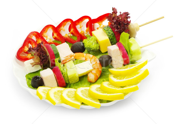 Salade légumes blanche rouge déjeuner tomate Photo stock © Pakhnyushchyy