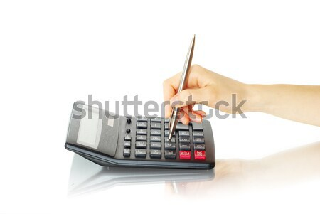 Stockfoto: Calculator · hand · geïsoleerd · witte · onderwijs · druk