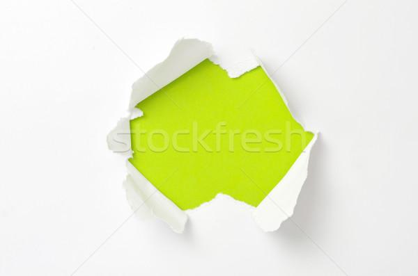 Gescheurd papier ruimte muur abstract teken zwarte Stockfoto © Pakhnyushchyy