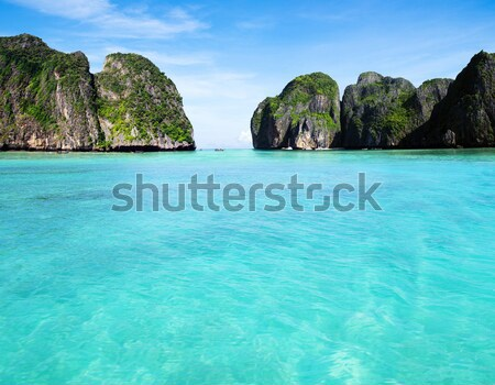 пейзаж Тропический остров воды океана зеленый лодка Сток-фото © Pakhnyushchyy