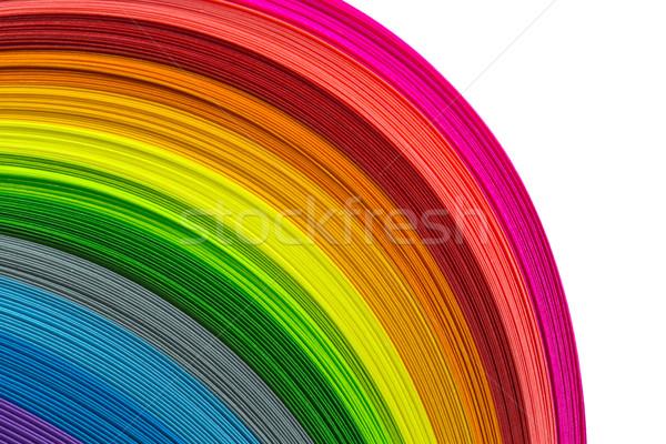 Stock fotó: Színes · papír · csíkok · szívárványszínű · háttér · absztrakt