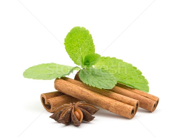 Fahéj menta fa desszert fűszer egészséges Stock fotó © Pakhnyushchyy