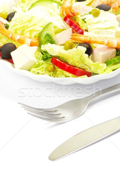 Salade plantaardige plaat witte voedsel gezondheid Stockfoto © Pakhnyushchyy