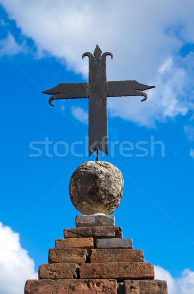 Photo stock: Croix · haut · vieux · église · bâtiment · mur