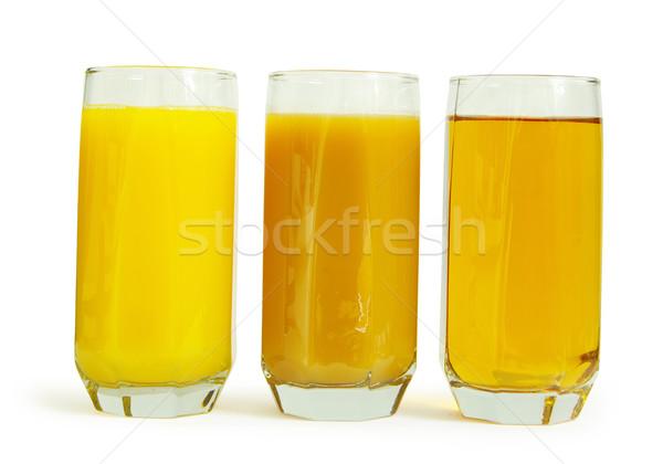 Сток-фото: сока · стекла · персика · изолированный · белый · оранжевый