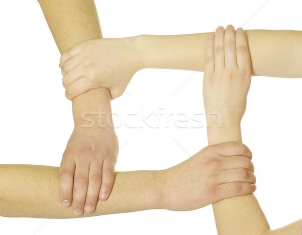 Pierścień ręce odizolowany biały sieci grupy Zdjęcia stock © Pakhnyushchyy
