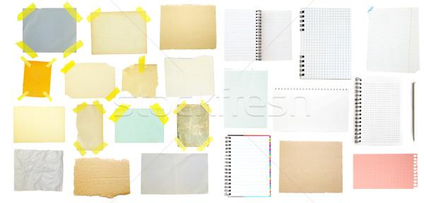 Gyűjtemény öreg levélpapír fehér üzlet iroda Stock fotó © Pakhnyushchyy