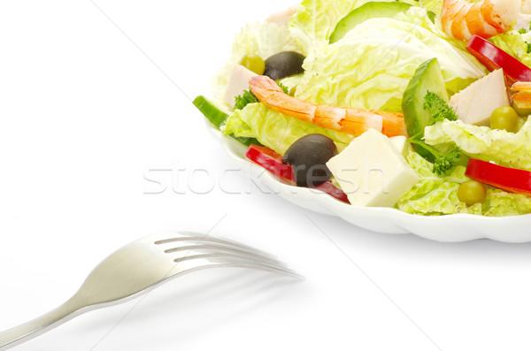 Saláta izolált fehér egészség zöld tányér Stock fotó © Pakhnyushchyy