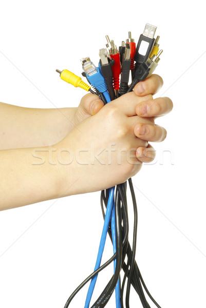 cables in hand Stock photo © Pakhnyushchyy