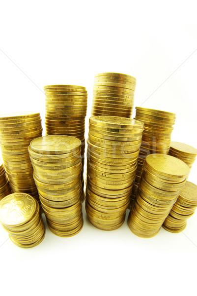 Münzen Türme isoliert Business Euro hat Stock foto © Pakhnyushchyy