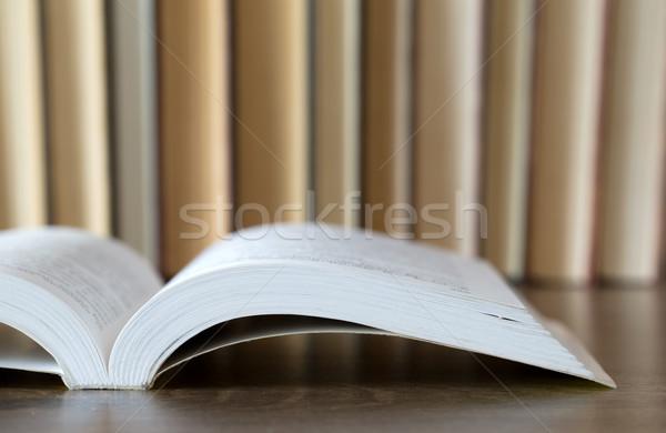Livres bois bois école mur design Photo stock © Pakhnyushchyy