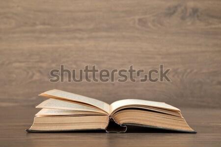 Nyitott könyv fa papír textúra háttér keret Stock fotó © Pakhnyushchyy