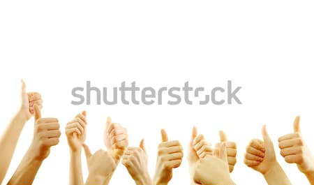 ストックフォト: 成功 · 手 · 多くの · 手 · アップ · 白