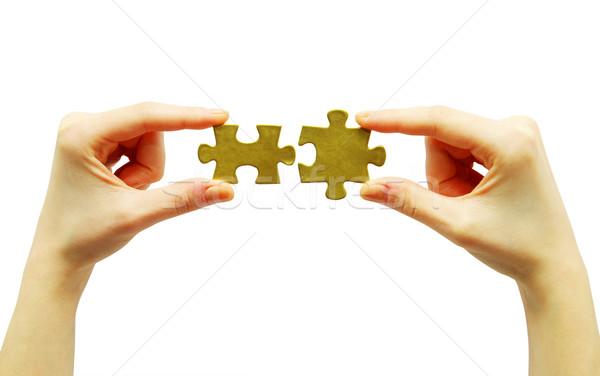 パズル 手 孤立した 白 コンセプト 戦略 ストックフォト © Pakhnyushchyy