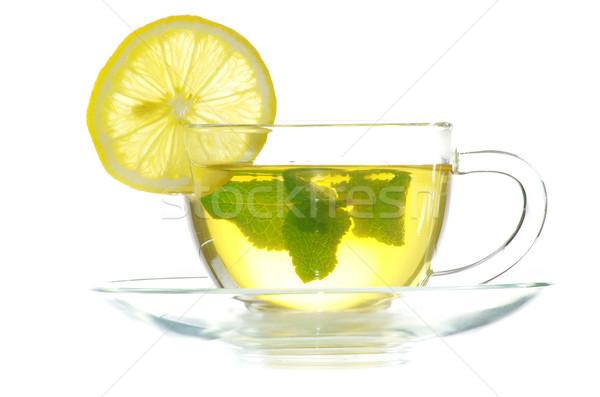 Thee blad mint geïsoleerd witte Stockfoto © Pakhnyushchyy