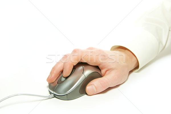 Компьютерная мышь белый стороны служба промышленности человека Сток-фото © Pakhnyushchyy