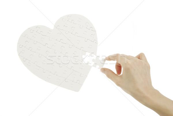 Stok fotoğraf: Bilmece · kalp · yalıtılmış · beyaz · eller · el