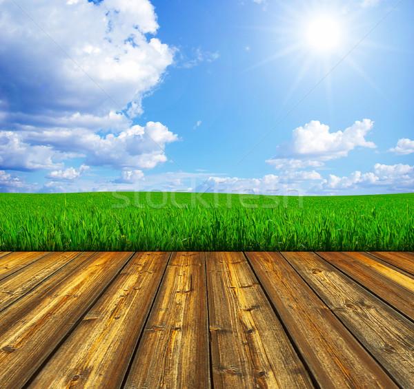 Blue sky piso de madeira céu quadro verão azul Foto stock © Pakhnyushchyy