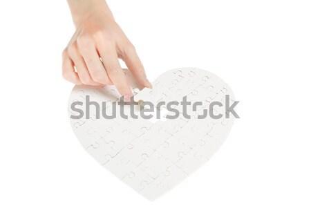 Stok fotoğraf: Bilmece · kalp · yalıtılmış · beyaz · el · imzalamak