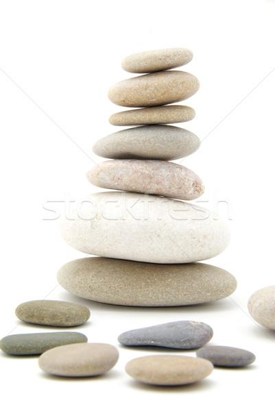 Boglya kiegyensúlyozott kövek fehér kő kő Stock fotó © Pakhnyushchyy