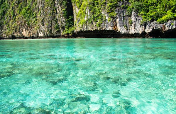 Trópusi sziget tájkép víz óceán zöld csónak Stock fotó © Pakhnyushchyy