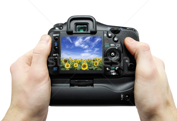 Câmera mão preto câmera digital mãos profissional Foto stock © Pakhnyushchyy