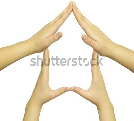 Foto stock: Mãos · reciclagem · símbolo · isolado · branco · fundo