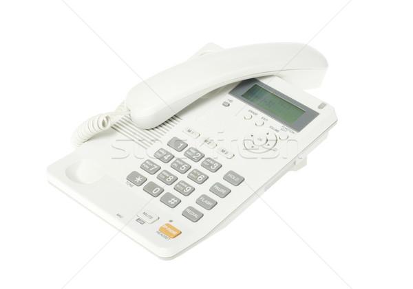 Telefon biały biuro tabeli kabel dyskusja Zdjęcia stock © Pakhnyushchyy