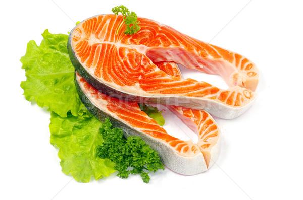 Ruw zalm specerijen geïsoleerd vis olie Stockfoto © Pakhnyushchyy