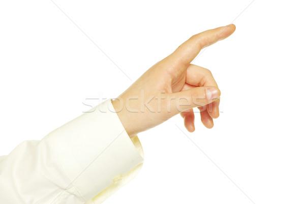 Stockfoto: Hand · aanraken · scherm · geïsoleerd · witte · vrouw