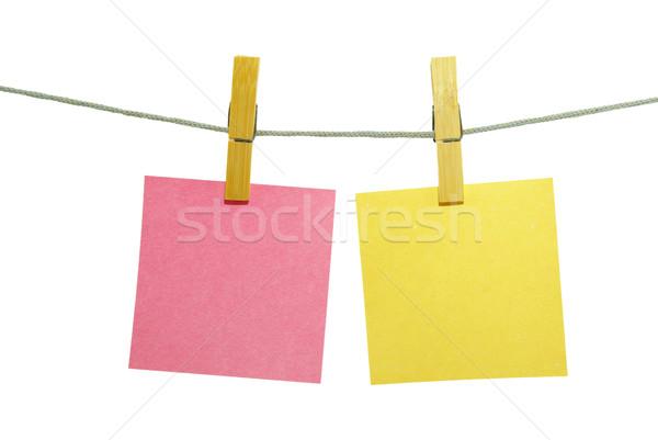 note paper blanks on rope Stock photo © Pakhnyushchyy