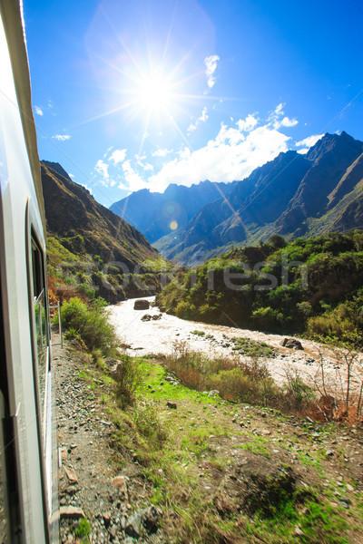 Tren ışık seyahat yolculuk sabah Stok fotoğraf © Pakhnyushchyy