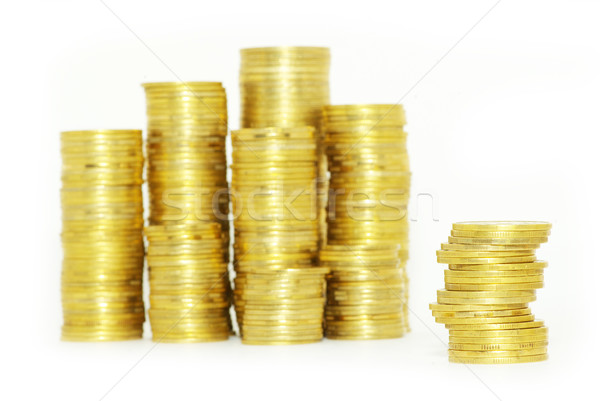 Pièces isolé euros stock dollar Photo stock © Pakhnyushchyy