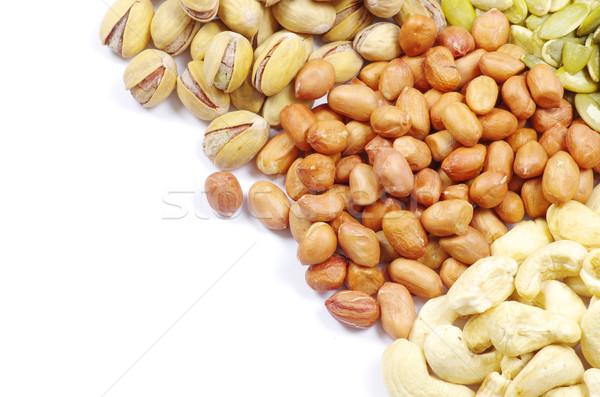 Foto stock: Semillas · nueces · colección · salud · blanco · suelo